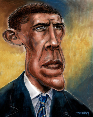 Thomas Marsh Creations artist Los Angeles art artwork color painting illustration caricature Barack Obama