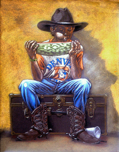 Thomas Marsh Creations artist Los Angeles art artwork color painting illustration #drawing #thomas #marsh #eating #watermelon #boy #cowboy #hat #boots #county #fair #denver #broncos #sitting #trunk
