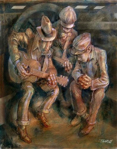 Thomas Marsh Creations artist Los Angeles art artwork color painting illustration #guitars #music #playing #railroad #track #trains #early #1930s #working #class #travelers
