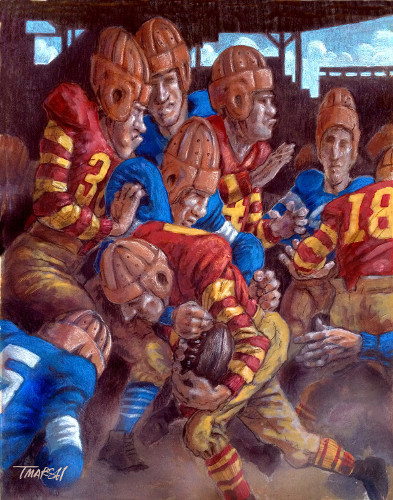 Thomas Marsh Creations artist Los Angeles art artwork color painting illustration #american #football #gridiron #tackle #running #dust #uniforms #color #stripes #nose #broken #leather #helmets #leatherheads