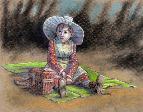 #thomas #marsh #colored #pencil #drawing #thomas #marsh #girl #picnic #white #bonnet #blanket #basket