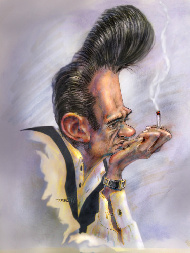 Thomas Marsh Creations artist Los Angeles art artwork color painting illustration music caricature Johnny Cash