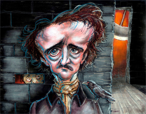 Thomas Marsh Creations artist Los Angeles art artwork color painting illustration caricature Edgar Alan Poe