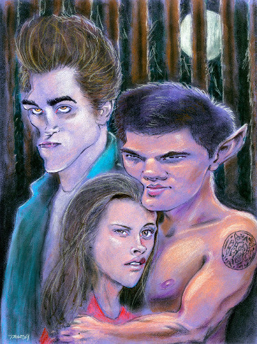 Thomas Marsh Creations artist Los Angeles art artwork color painting illustration caricature vampires Twilight