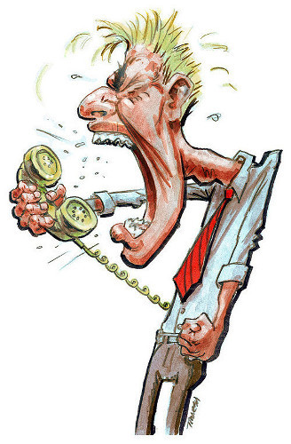 Cartoon by Thomas Marsh on phone etiquette showing a man yelling and screaming into a phone