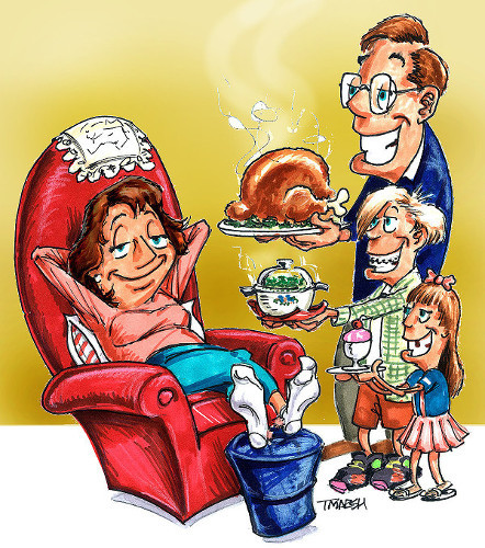 Cartoon Mother's Day family dinner relaxing mom in chair