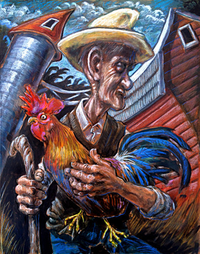#thomas #marsh #painting #illustration #colorful #art #agriculture #farmer #rooster #rural #farm #barn #silo #daylight #control #animals