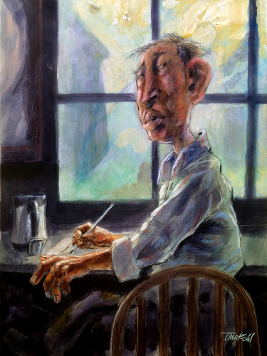 Thomas Marsh Creations artist Los Angeles art artwork color painting illustration #window #light #writing #man #interrupted #attention #aware #blue #desk #table