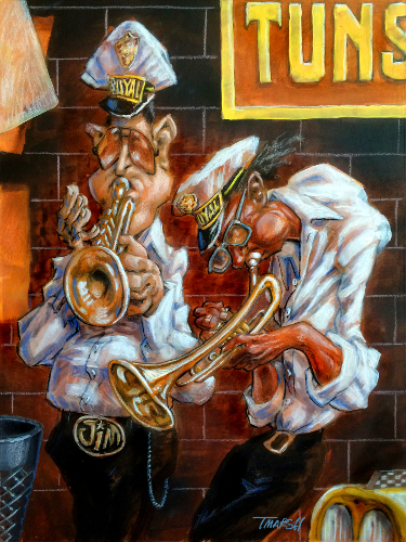 Thomas Marsh Creations artist Los Angeles art artwork color painting illustration #music #trumpet #expession ##urban #band #musicians #hands #mission #