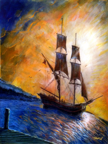 Thomas Marsh Creations artist Los Angeles art artwork color painting illustration ocean voyage sea ship sailing