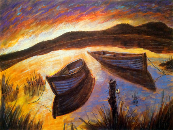 Thomas Marsh Creations artist Los Angeles art artwork color painting illustration lake fishing boats sunset