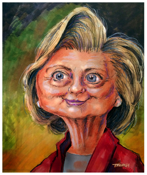 Thomas Marsh Creations artist Los Angeles art artwork color painting illustration caricature Hillary Clinton