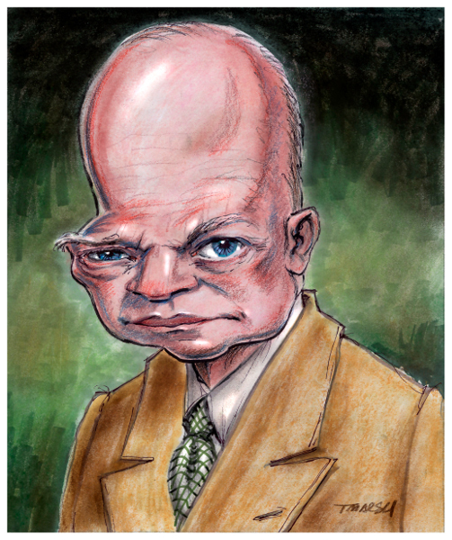 Thomas Marsh Creations artist Los Angeles art artwork color painting illustration caricature Dwight Eisenhower