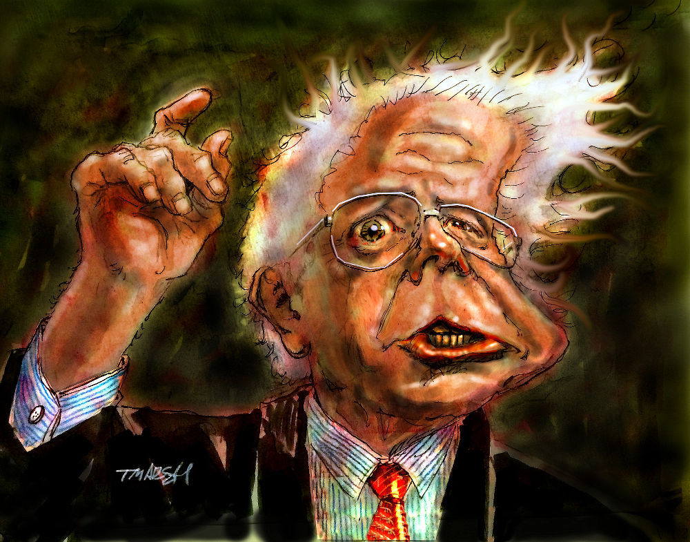 Thomas Marsh Creations artist Los Angeles art artwork color painting illustration caricature Bernie Sanders politics