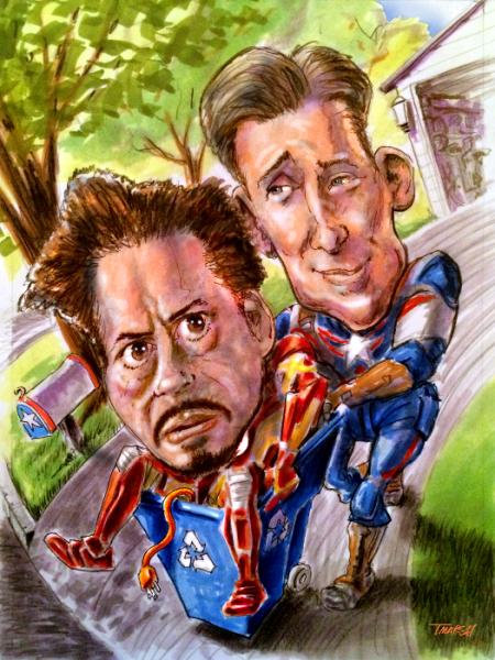 caricature comics illustration, superheroes Downey Evans recycling