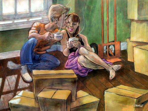 love, romance, couple, home, coffee