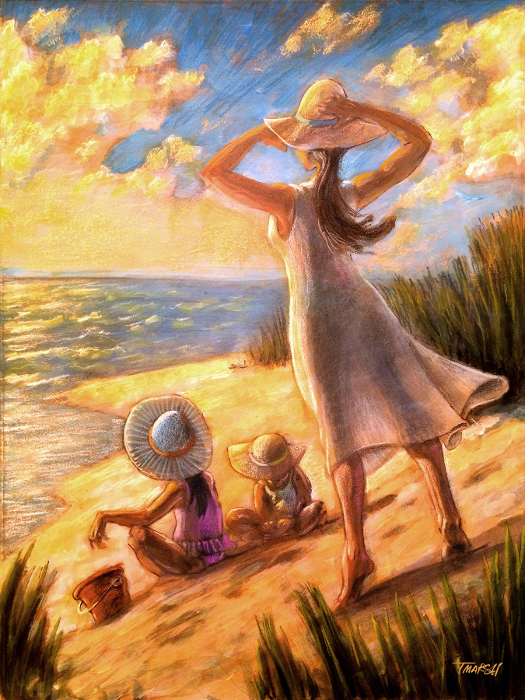 #illustration, #ocean #beach #family #sunset