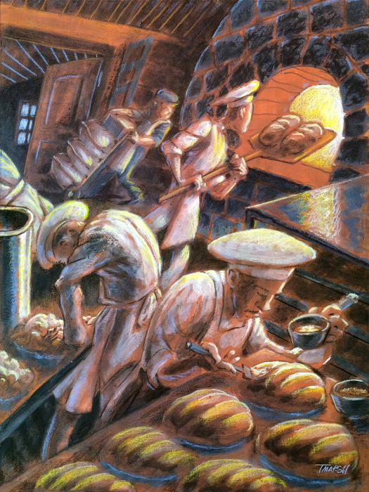 Thomas Marsh Creations artist Los Angeles art artwork color painting illustration #illustration #bakery #bread #food #warmth #oven #heat #art #painting