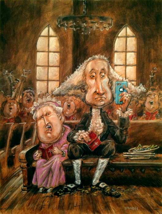 Thomas Marsh Creations artist Los Angeles art artwork color painting illustration caricature George Washington in church with Martha