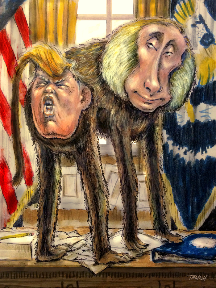 Thomas Marsh Creations artist Los Angeles art artwork color painting illustration caricature political Trump Putin