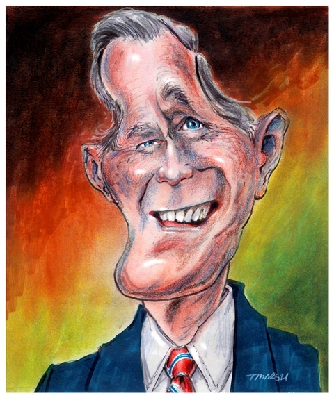 Thomas Marsh Creations artist Los Angeles art artwork color painting illustration caricature George H.W. Bush politics