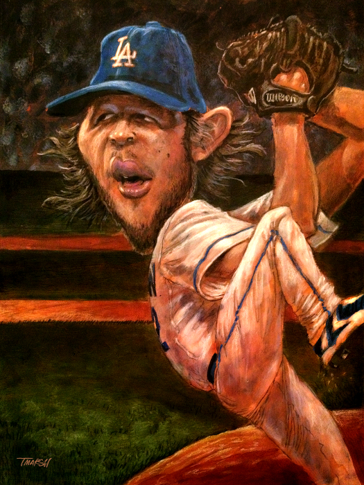 Thomas Marsh Creations artist Los Angeles art artwork color painting illustration caricature Baseball Dodgers Clayton Kershaw