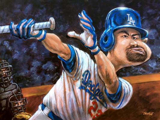 Thomas Marsh Creations artist Los Angeles art artwork color painting illustration Baseball caricature Dodgers Adrian Gonzalez