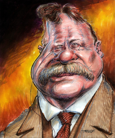 Thomas Marsh Creations artist Los Angeles art artwork color painting illustration caricature Teddy Roosevelt