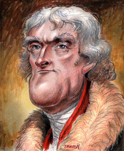 Thomas Marsh Creations artist Los Angeles art artwork color painting illustration caricature Thomas Jefferson