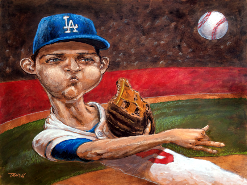 Thomas Marsh Creations artist Los Angeles art artwork color painting illustration Baseball Dodgers caricature Cory Seager