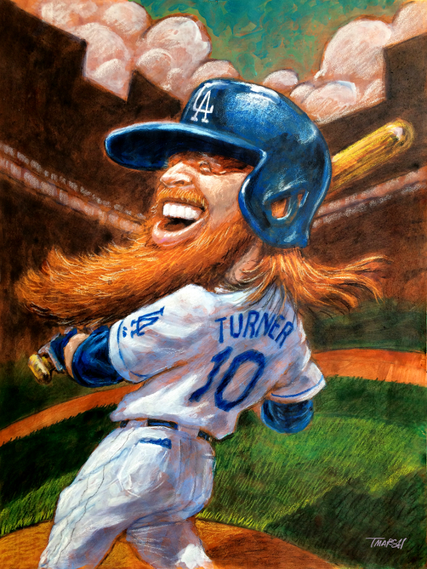 Thomas Marsh Creations artist Los Angeles art artwork color painting illustration Baseball Dodgers caricature Justin Turner