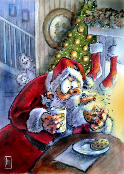 Thomas Marsh Creations artist Los Angeles art artwork color painting illustration Christmas Holiday Santa Clause kids children cookies food Cartoon Funny Cute