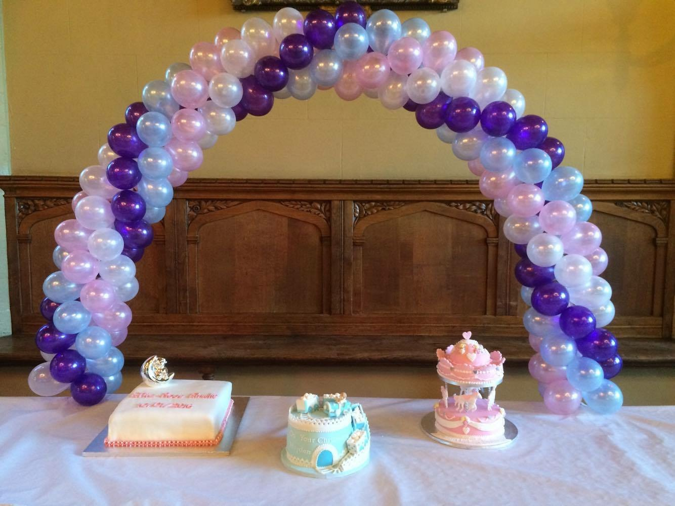 Christening - spiral cake table arch