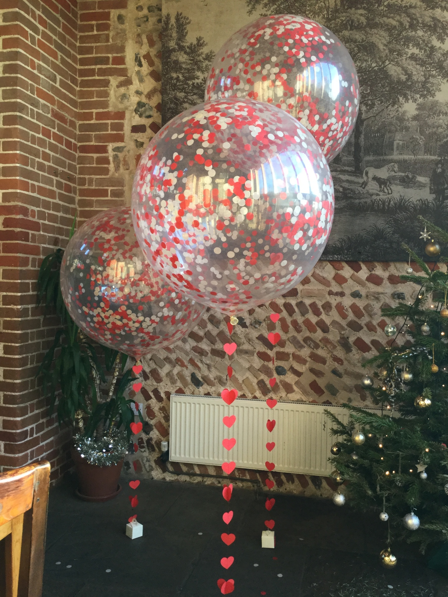 3ft confetti balloons with hand made heart tails
