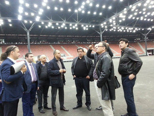 FIDE team inspecting the Crystal Hall playing venue