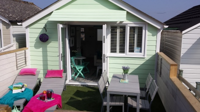 Dunster, luxury, Beach, hut, Salad, Days, sun, worhip, meal, table. chairs, loungers