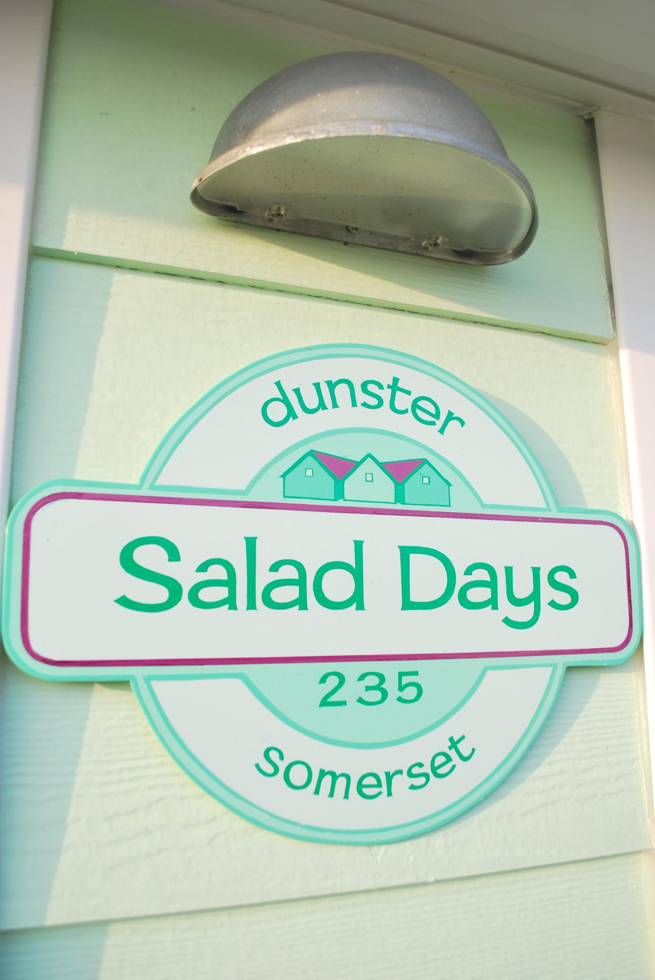 Dunster, luxury, Beach, hut, Salad, Days, sign, chalet, name