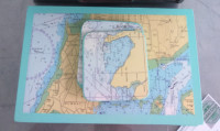 Dunster, beach, hut, salad days, beach hut, chalet, dunster beach, home made coasters, place mats, nautical, chart, hydrographic