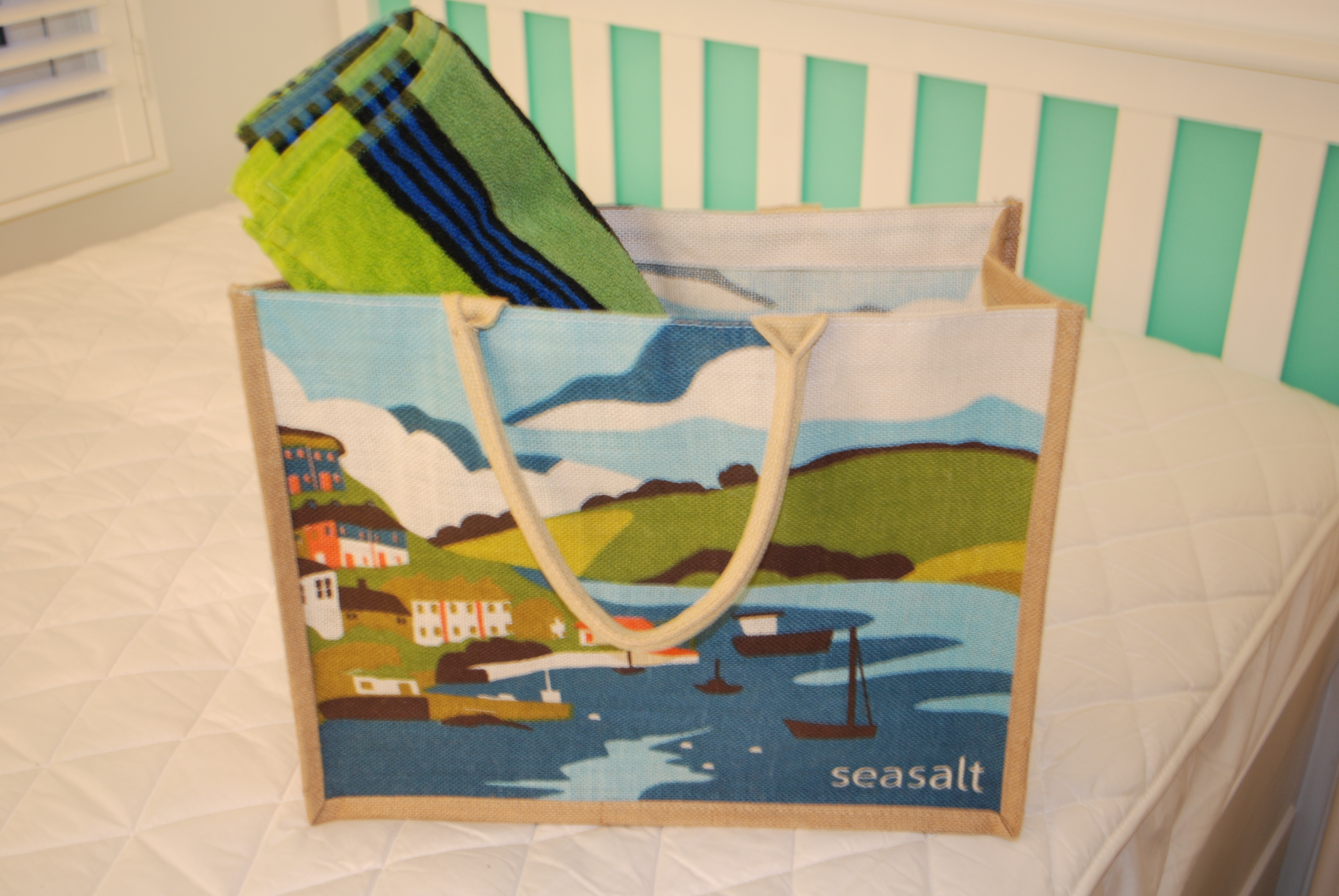 Dunster, beach, hut, salad days, beach hut, chalet, dunster beach, jute bag, shopping bag