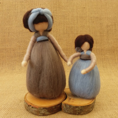 Mother and Daughter, Figure, The Fuzzy Hut, Needlefelting, Somerset, Etsy