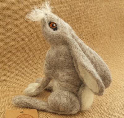 Figure, Moon Gazing Hare,The Fuzzy Hut, Needlefelting, Somerset, Etsy