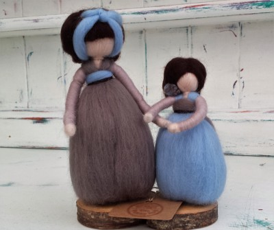 Mother and Daughter, Figure, The Fuzzy Hut, Needlefelting, Somerset, Etsy, Needle Felted Fairy