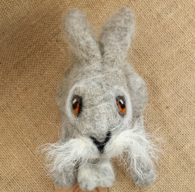 Needle Felted Animal, Needle Felted Hare, Figure, Moon Gazing Hare,The Fuzzy Hut, Needlefelting, Somerset, Etsy