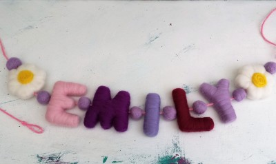 Name Garland, name, garland, letters, The Fuzzy Hut, Needlefelting, Somerset, Etsy