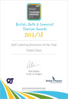 BBS, Bristol bath somerset, tourism awards, visit england, visit somerset, self catering business of the year