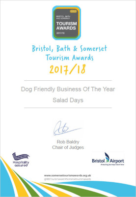 BBS, Bristol bath somerset, tourism awards, visit england, visit somerset, dog friendly business of the year, dog friendly