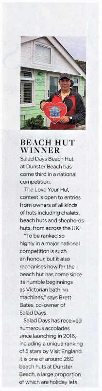 dunster, beach, salad, days, dunster beach hut, ultimate, beach, hut, bristol. bath, somerset, tourism, awards, Somerset Life, love your hut, love your hut of the year