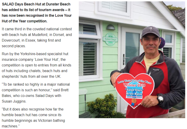 dunster, beach, salad, days, dunster beach hut, ultimate, beach, hut, bristol. bath, somerset, tourism, awards, West Somerset Free Press