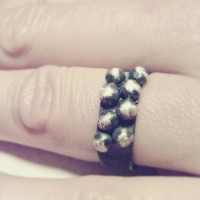 sterling silver ring, oxidized silver ring, silver band, silver pebbles, rocker style jewelry, art jewelry, handcraft