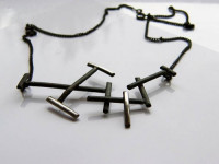 silver necklace, art jewelry, made by an artist, black silver, oxidized silver jewelry, dainty, contemporary, edgy, twigs, geometric, naakit, lydia redovnikovic